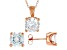 White Cubic Zirconia 18K Rose Gold Over Sterling Silver Pendant With Chain And Earrings 12.57ctw