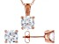 White Cubic Zirconia 18K Rose Gold Over Sterling Silver Pendant With Chain and Earrings 6.55ctw