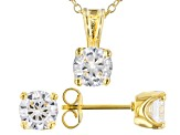 White Cubic Zirconia 18K Yellow Gold Over Sterling Silver Pendant With Chain And Earrings 4.05ctw