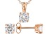 White Cubic Zirconia 18K Rose Gold Over Sterling Silver Pendant With Chain And Earrings 4.05ctw