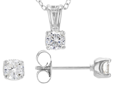 White Cubic Zirconia Rhodium Over Sterling Silver Pendant With Chain And Earrings 1.12ctw