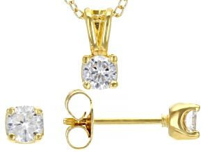 White Cubic Zirconia 18K Yellow Gold Over Sterling Silver Pendant With Chain And Earrings 1.12ctw