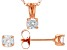White Cubic Zirconia 18K Rose Gold Over Sterling Silver Pendant With Chain And Earrings 1.12ctw