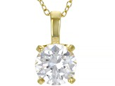 White Cubic Zirconia 18K Yellow Gold Over Sterling Silver Pendant With Chain And Earrings 8.91ctw