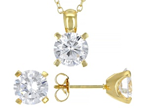 White Cubic Zirconia 18K Yellow Gold Over Sterling Silver Pendant With Chain And Earrings 7.36ctw