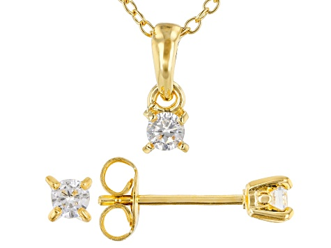 White Cubic Zirconia 18K Yellow Gold Over Sterling Silver Pendant With Chain And Earrings 0.52ctw