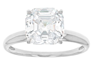 Asscher White Cubic Zirconia Rhodium Over Sterling Silver Solitaire Ring 4.81ctw