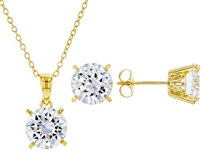 White Cubic Zirconia 18K Yellow Gold Over Sterling Silver Pendant With Chain And Earrings 12.55ctw