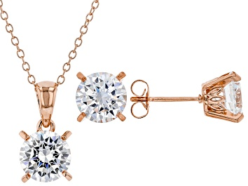 Picture of White Cubic Zirconia 18K Rose Gold Over Sterling Silver Pendant With Chain And Earrings 8.91ctw