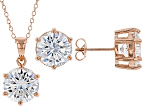 White Cubic Zirconia 18K Rose Gold Over Sterling Silver Pendant With Chain And Earrings 17.01ctw
