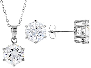 White Cubic Zirconia Rhodium Over Sterling Silver Pendant With Chain And Earrings 12.55ctw