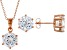 White Cubic Zirconia 18K Rose Gold Over Sterling Silver Pendant With Chain And Earrings 12.55ctw