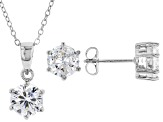 White Cubic Zirconia Rhodium Over Sterling Silver Pendant With Chain And Earrings 6.55ctw