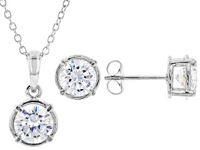 White Cubic Zirconia Rhodium Over Sterling Silver Pendant With Chain and Earrings 4.86ctw