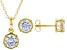 White Cubic Zirconia 18K Yellow Gold Over Sterling Silver Pendant With Chain and Earrings 4.86ctw