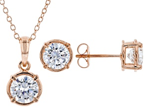 White Cubic Zirconia 18K Rose Gold Over Sterling Silver Pendant With Chain and Earrings 4.86ctw