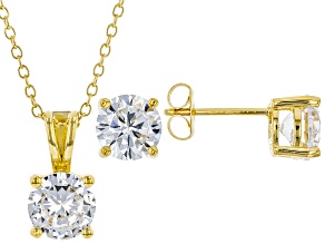 White Cubic Zirconia 18K Yellow Gold Over Sterling Silver Pendant With Chain And Earrings 6.55ctw