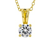 White Cubic Zirconia 18K Yellow Gold Over Sterling Silver Pendant With Chain And Earrings 2.43ctw