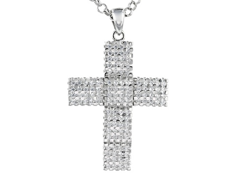 White Cubic Zirconia Rhodium Over Sterling Silver Mens Cross Pendant With Chain 3.02ctw
