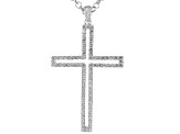 White Cubic Zirconia Rhodium Over Sterling Silver Mens Cross Pendant With Chain 2.76ctw