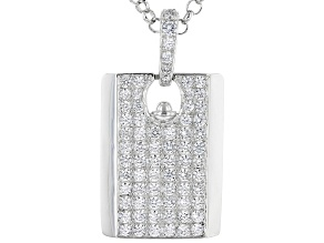 White Cubic Zirconia Rhodium Over Sterling Silver Pendant With Chain 5.33ctw