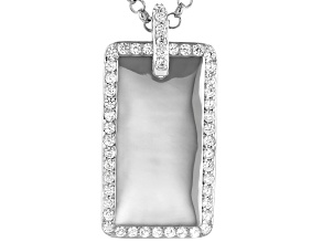 White Cubic Zirconia Rhodium Over Sterling Silver Mens Pendant With Chain 2.87ctw