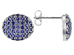 Blue Cubic Zirconia Rhodium Over Sterling Silver Mens Earrings 1.28ctw