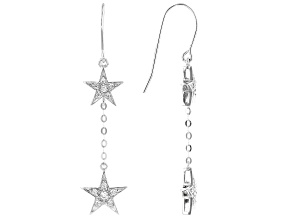 White Cubic Zirconia Rhodium Over Sterling Silver Star Earrings 0.59ctw
