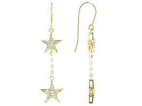 White Cubic Zirconia 18K Yellow Gold Over Sterling Silver Star Earrings 0.59ctw