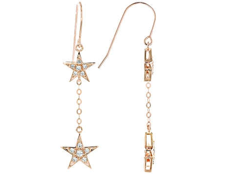 White Cubic Zirconia 18K Rose Gold Over Sterling Silver Star Earrings 0.59ctw