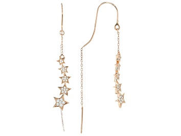 Picture of White Cubic Zirconia 18K Rose Gold Over Sterling Silver Star Earrings 0.42ctw