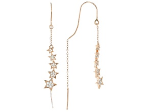 White Cubic Zirconia 18K Rose Gold Over Sterling Silver Star Earrings 0.42ctw