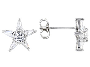 White Cubic Zirconia Rhodium Over Sterling Silver Star Stud Earrings 1.15ctw