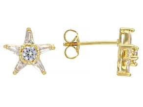 White Cubic Zirconia 18K Yellow Gold Over Sterling Silver Star Stud Earrings 1.15ctw