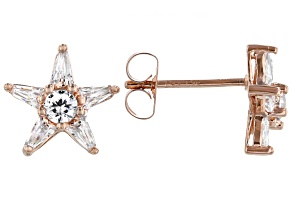 White Cubic Zirconia 18K Rose Gold Over Sterling Silver Star Stud Earrings 1.15ctw