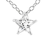 White Cubic Zirconia Rhodium Over Sterling Silver Star Pendant With Chain 0.64ctw