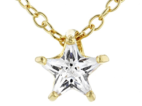 White Cubic Zirconia 18K Yellow Gold Over Sterling Silver Star Pendant With Chain 0.64ctw