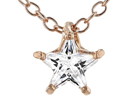 White Cubic Zirconia 18K Rose Gold Over Sterling Silver Star Pendant With Chain 0.64ctw