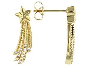 White Cubic Zirconia 18K Yellow Gold Over Sterling Silver Star Earrings 0.21ctw