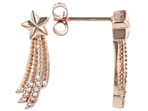 White Cubic Zirconia 18K Rose Gold Over Sterling Silver Star Earrings 0.21ctw