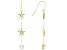 White Cubic Zirconia 18K Yellow Gold Over Sterling Silver Star Dangle Earrings 3.75ctw