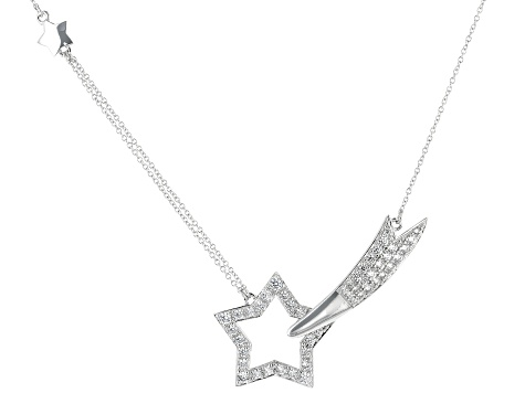 White Cubic Zirconia Rhodium Over Sterling Silver Star Necklace 1.96ctw