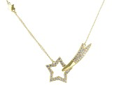 White Cubic Zirconia 18K Yellow Gold Over Sterling Silver Star Necklace 1.96ctw