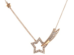 White Cubic Zirconia 18K Rose Gold Over Sterling Silver Star Necklace 1.96ctw