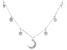 White Cubic Zirconia Rhodium Over Sterling Silver Star And Moon Necklace 0.66ctw