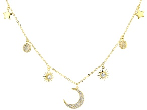 White Cubic Zirconia 18K Yellow Gold Over Sterling Silver Star And Moon Necklace 0.66ctw