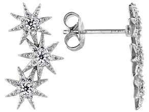 White Cubic Zirconia Rhodium Over Sterling Silver Star Earrings 0.68ctw
