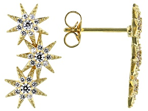 White Cubic Zirconia 18K Yellow Gold Over Sterling Silver Star Earrings 0.68ctw