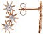 White Cubic Zirconia 18K Rose Gold Over Sterling Silver Star Earrings 0.68ctw