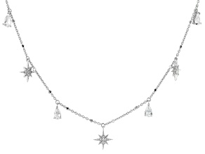 White Cubic Zirconia Rhodium Over Sterling Silver Star Station Necklace 1.39ctw